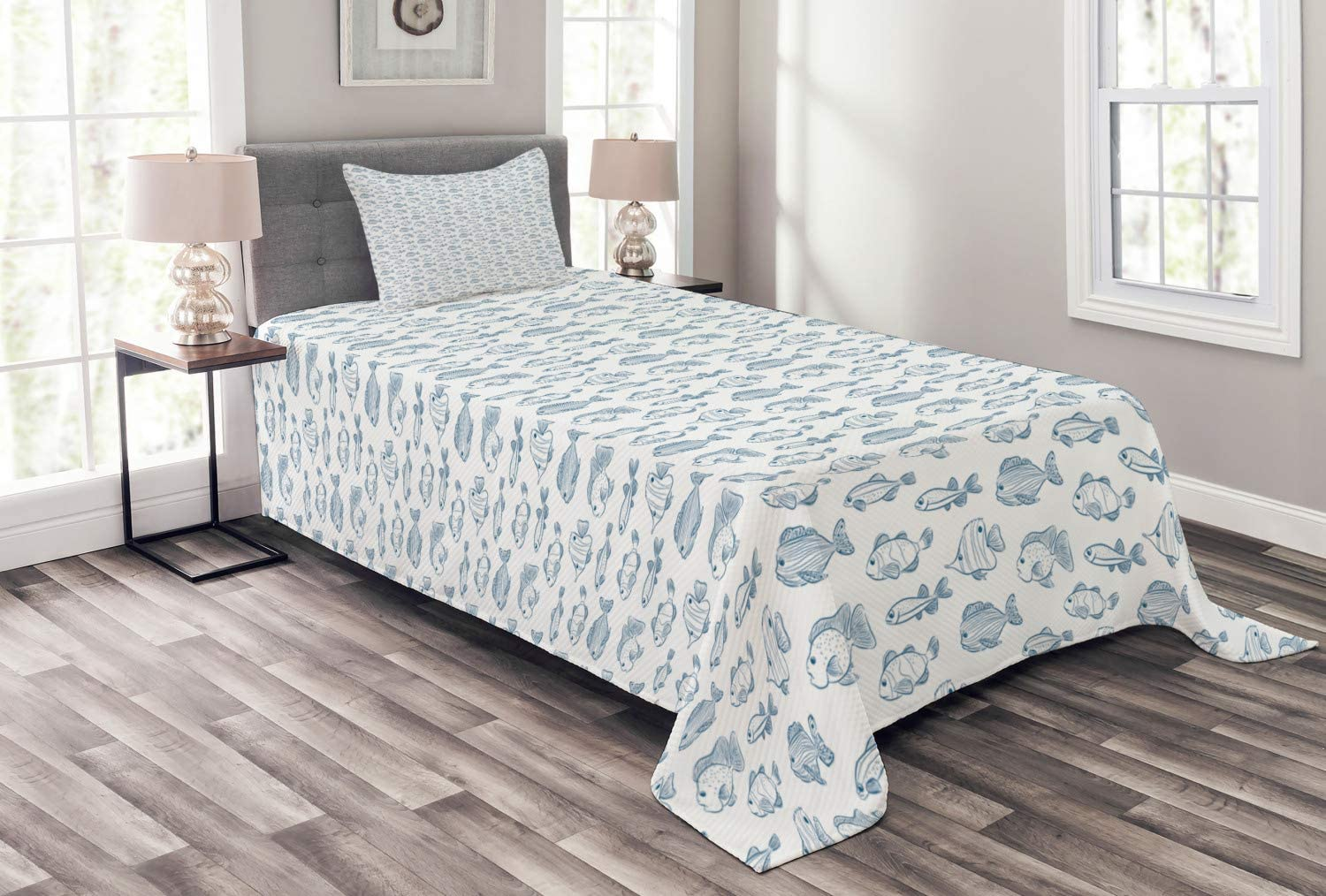 Ambesonne Sea Life Popular standard Selling and selling Bedspread Outline Fish Design Hand of Drawn