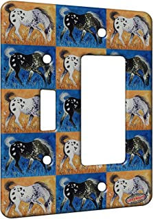 2 Gang Single Toggle/Single Duplex Rocker Wall Plate - Blue Roan Appaloosa Colt with Wildflowers Horse Pattern Art by Denise Every