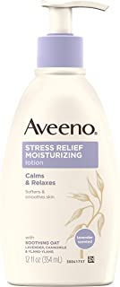 Aveeno Stress Relief Moisturizing Body Lotion with Lavender, Natural Oatmeal and Chamomile & Ylang-Ylang Essential Oils to Calm & Relax, 12 fl. oz