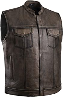 Distressed Top Quality Leather Mens Motorcycle Riders Vest (2x large, brown)