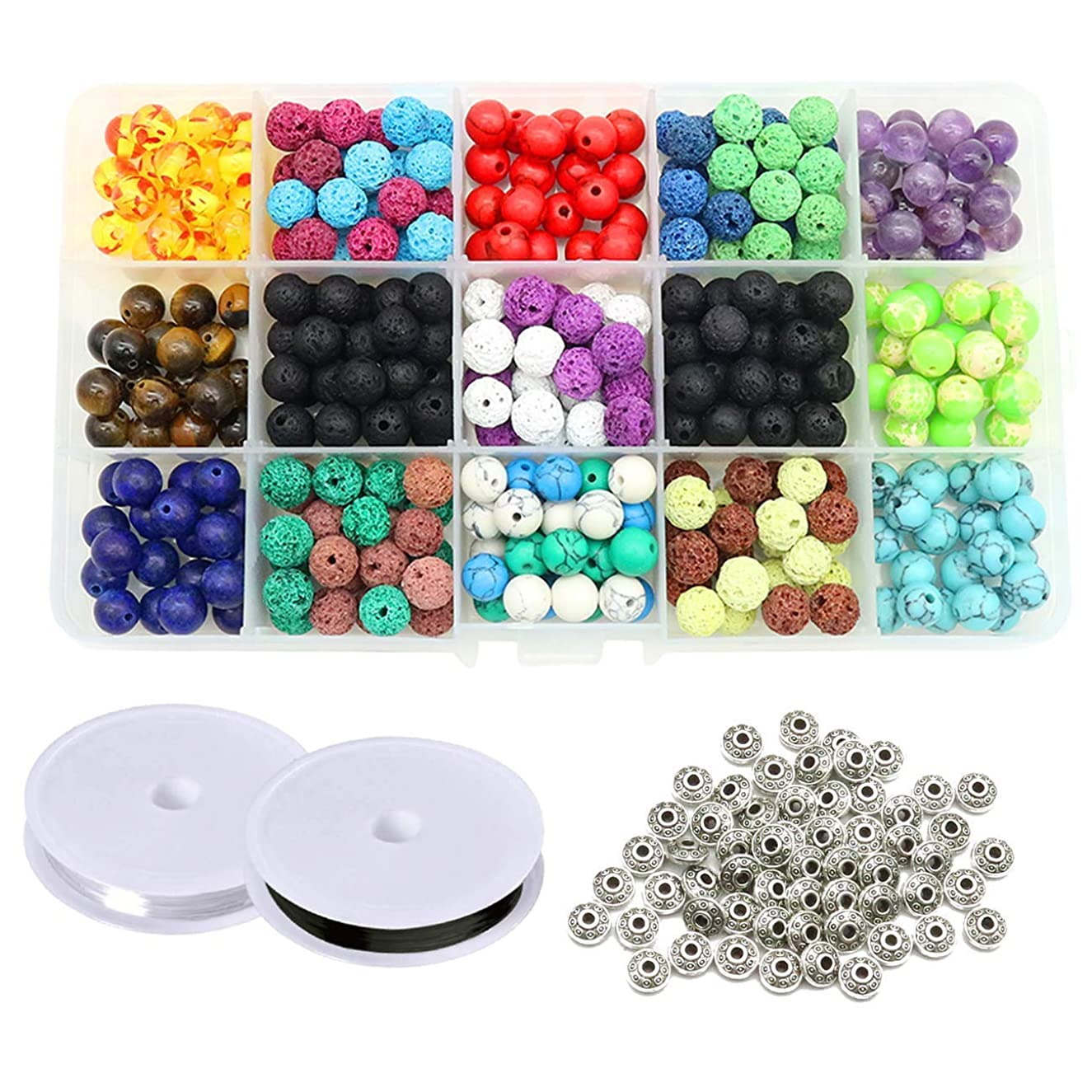 JIWINNER 410 Pieces Assorted Colored Lava Rock Stone Volcanic Beads Spacer Beads with Storage Box and 2 Roll Elastic Crystal String for Jewelry Making Bracelet Necklace DIY (410)