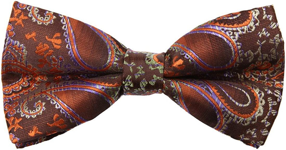 Dan Smith DBD7B20A Brown Orange Patterned Microfiber Males Bow Tie Happy For Husband Pre-tied Bow Tie