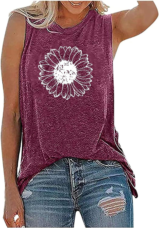 Women's Sleeveless Summer Casual Tops Crew Neck Printing Sleeveless Vest Tops Summer Tops Tee Shirts Blouse
