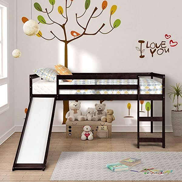 Twin Loft Bed With Slide For Kids Toddlers Wood Low Sturdy Loft Bed No Box Spring Needed Espresso