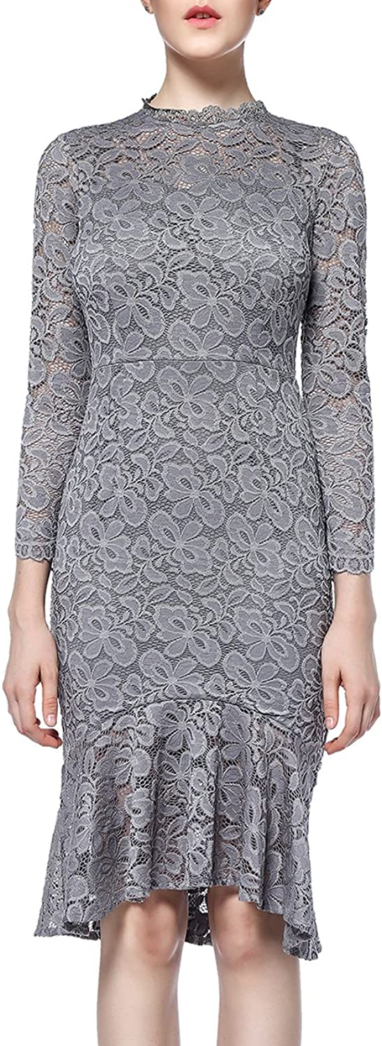 DISBEST Women's Vintage Floral Long Sleeve Round Neck Lace Bodycon Cocktail Party Evening Dresses