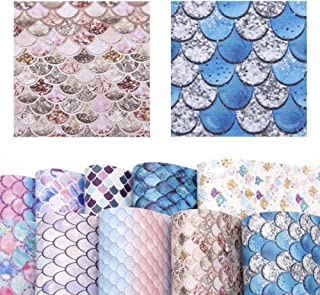 David accessories Mermaid Fish Scale Pattern Printed Faux Leather Sheet Synthetic Leather Fabric 10 Pcs 8