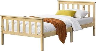 Cadre de Lit Design pour Adultes en Bois de Pin à Sommier à Lattes Lit Simple Capacité de Charge 100 kg 90 x 200 cm Bois N...