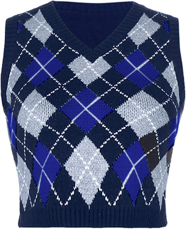 JEATHA Women's Streetwear Preppy Crop Tank Top Argyle Plaid V Neck Sleeveless Knitted Sweater Vest Top