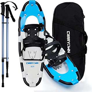 Carryown 14/21/25/30 Inches Snowshoes for Kids Men and Women Girls, Light Weight Aluminum Terrain Snow Shoes with Trekking Poles