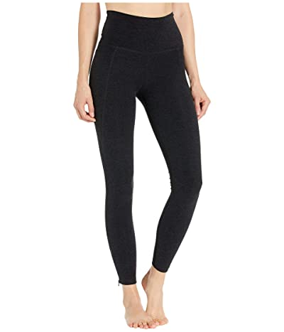 Beyond Yoga Spacedye Subtle Zip High-Waisted Midi Leggings (Darkest Night) Women