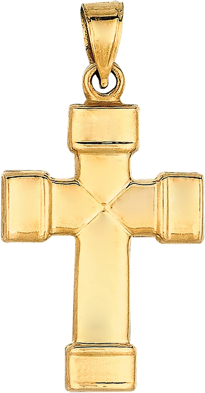 55% OFF 14k Yellow Gold Shiny Finish Cross Pendant Square Tube Super Special SALE held