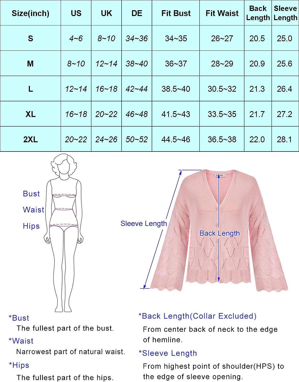 GRACE KARIN Women's Long Sleeve Open Front Button Down V Neck Lightweight Summer Knit Cardigan Sweater