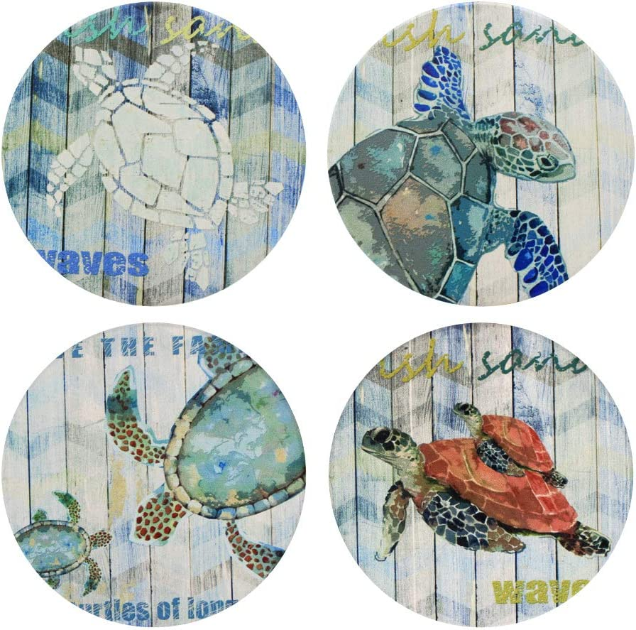 Absorbent Coasters Max 50% OFF Set of Ranking TOP11 4 - Turtle Sea Coaster for Ocean Theme