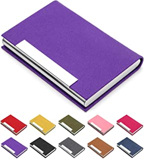 Business Card Holder, Business Card Case Luxury PU Leather & Stainless Steel Multi Card Case,Business Card Holder Wallet Credit Card ID Case/Holder for Men & Women. (Purple)