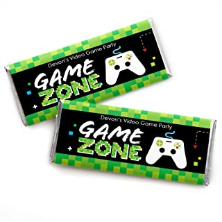 Personalized Game Zone - Custom Pixel Video Game Party or Birthday Party Favors Candy Bar Wrapper - Set of 24