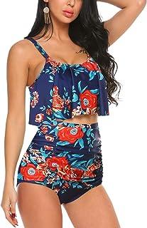 ADOME High Waist Bikini Set for Women Ruffled Tummy Control Swimsuit 2 Piece Printed Plus Size Swimwear