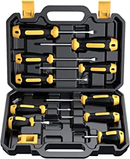 CREMAX Magnetic Screwdriver, Cushion Grip 5 Phillips and 5 Flat Head Tips Screwdriver Set