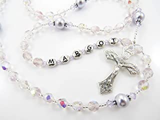 Personalized Rosary Beads in Sparkly Light Purple, Czech Republic Glass, Swarovski Pearls and Crystals, Custom Colors, Handmade Baptism or First Communion Gift for a Girl