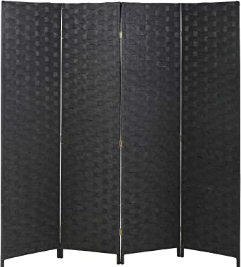 Vnewone Room Dividers and Folding Privacy Screens Curtain Partition Wall 4 Panel 6 ft Foldable Portable Handwork Wood Mesh Wo