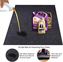 "KALASONEER Oil Spill Mat, Premium Absorbent Oil Mat Reusable Lightweight Oil Pad Contains Liquids, Protects Garage Or Shop Floor Surface (36"" x 30"") 36"" x 72"""