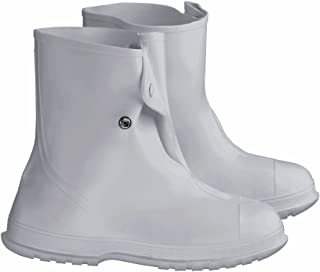 """ONGUARD 81020 PVC Men's Overshoe with 4 Way Cleated Outsole, 10"""" Height, White, Size Medium"""