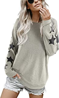 Blooming Jelly Womens Knit Pullover Sweaters Crewneck Long Sleeve Star Print Lightweight Cute Top