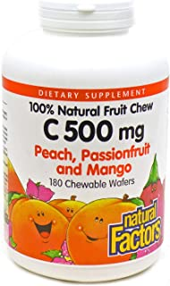 Natural Factors Vitamin C Peach, Passionfruit, Mango Chewables 180 tabs (4-Pack)