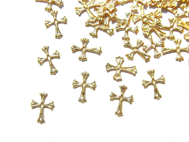 【jewel】ゴールド メタルパーツ クロス (十字架) 10個入り 6mm×4mm 手芸 材料 レジン ネイルアート パーツ 素材