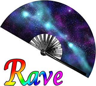OMyTea Large Rave Clack Folding Hand Fan for Men/Women - Chinese Japanese Bamboo Handheld Fan - for EDM, Music Festival, Club, Event, Party, Dance, Performance, Decoration, Gift (Purple Sky)