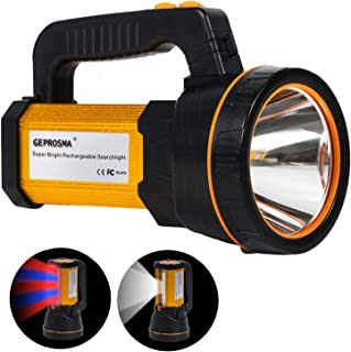 Heavy Duty Led Torch USB Rechargeable Super Bright Hand held Spotlight Flashlight High Power Big Powerful Searchlight Torc...