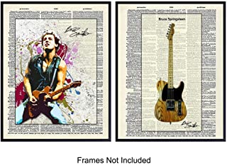 Bruce Springsteen and Guitar Dictionary Art Print - Vintage Upcycled Wall Art Poster - Unique Rustic Home Decor and Gift for 80's Music Fans, (Set of Two) 8x10 Photos Unframed