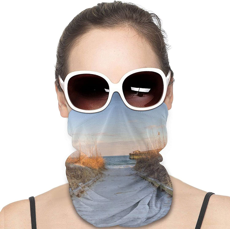 Sunset Sea Oats On The Atlantic Coast Myrtle Neck Gaiter Windproof Face Cover Balaclava Outdoors Magic Scarf Headband for Men Women Motorcycling Fishing Running Climbing