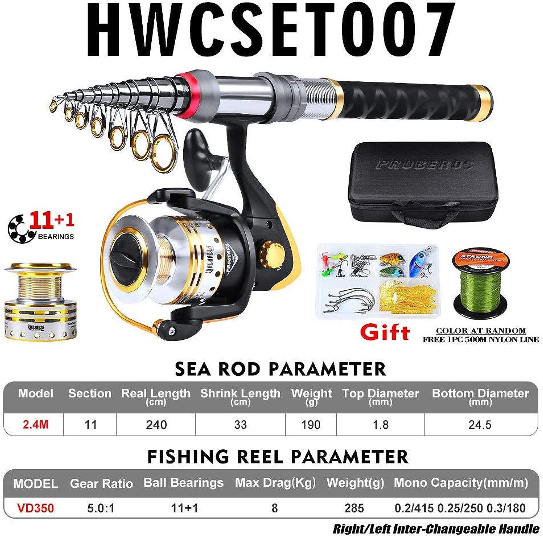 Fishing Rod and Reel Combination Full Set 5.9' 6.9' 7.9' 8.9' Telescopic Fishing Carbon Fiber Fishing Rod Fishing Gear Set, HWCSET007