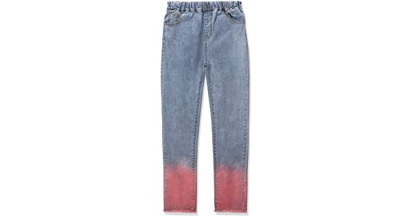 CUNYI Girls Colorful Dot Gradient Color Skinny Jeans Slim Fit Trousers with Fringe Cuff