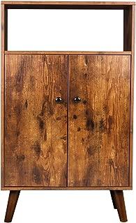 HOOBRO Storage Cabinet, 2-Tier Bookcase with Doors, Display Shelf Storage Unit in Living Room, Study Room, Entryway, Wood Look Accent Furniture, Rustic Brown