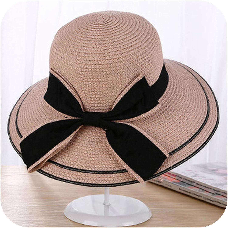 Sun Hat Big Black Bow Summer Hats for Women Foldable Straw Beach Hat,