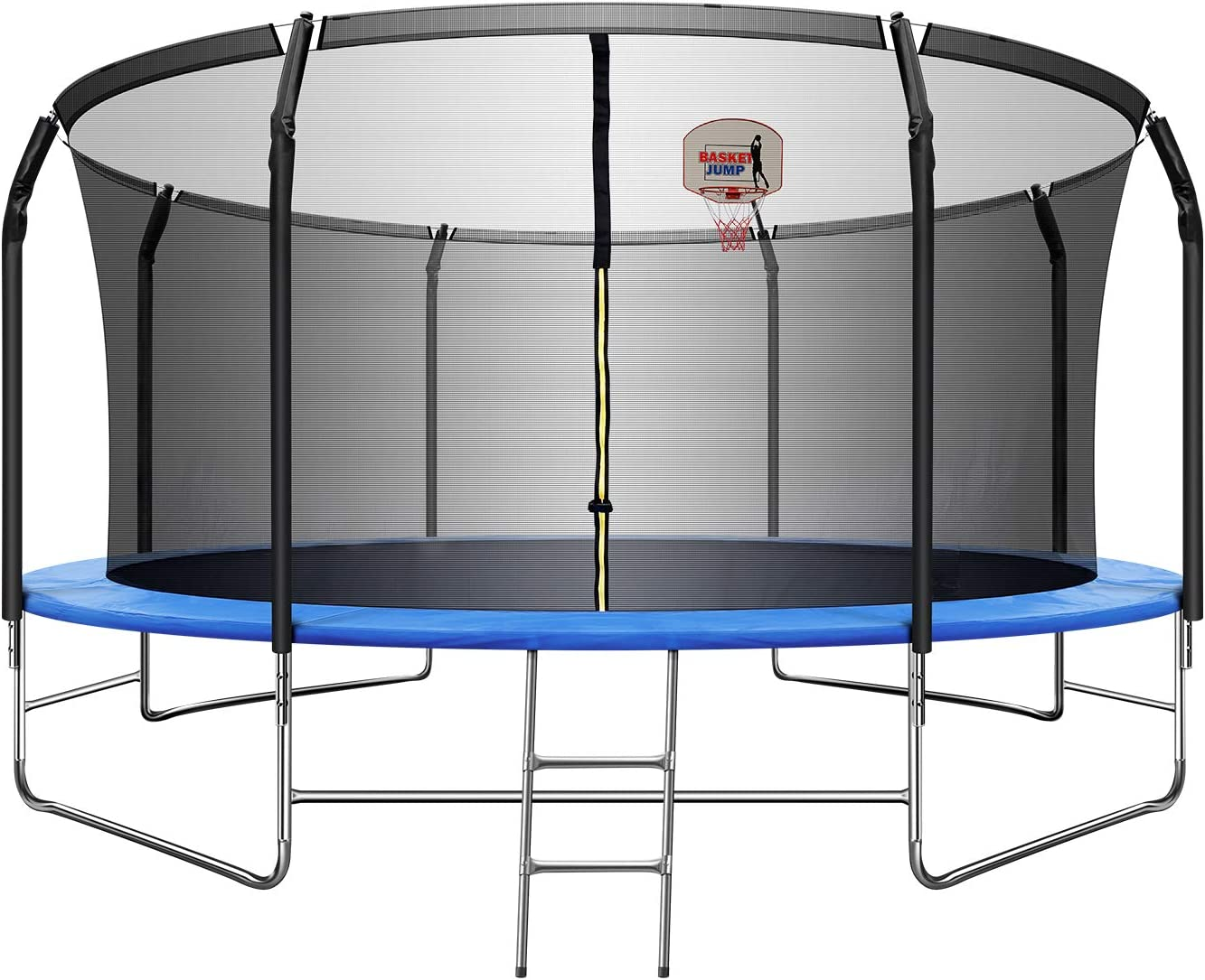 TRIPLE TREE 14 FT Trampoline with Basketball Hoop, Safety Enclos