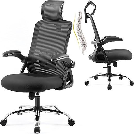 Ergonomischer Bürostuhl, EPLUS LIVING Chefsessel mit Kopfstütze,Computerstuhl mit Verstellbaren Lordosenstütze, Bürostühle mit Armlehnen…