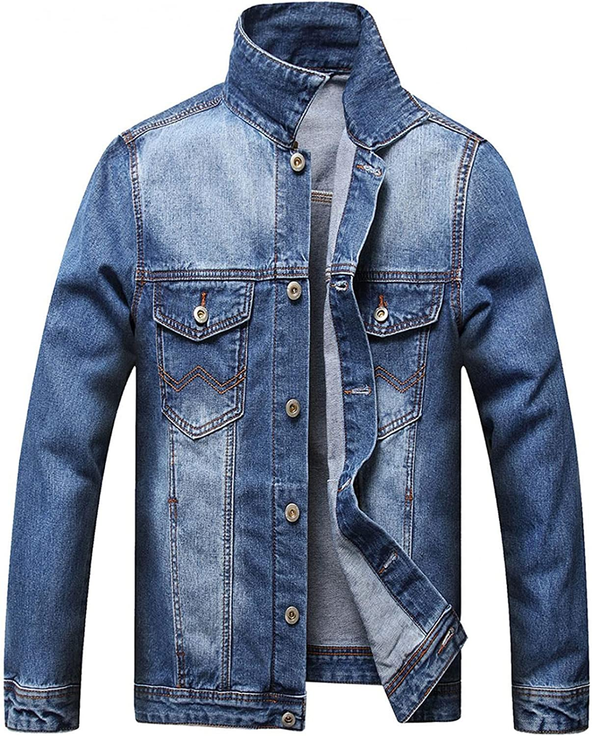 VEKDONE Mens Jean Jacket Casual Vintage Ripped Distressed Denim Slim Fit Jackets Fall Winter Coat Outwear with Holes