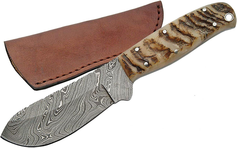 Szco Supplies Damascus Ram Horn Big Game Skinning Knife