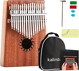 Kalimba 17 Keys Thumb Piano Portable Mbira Finger Piano Gifts for Kids and Adults Beginners with Tuning Hammer and Study Instruction