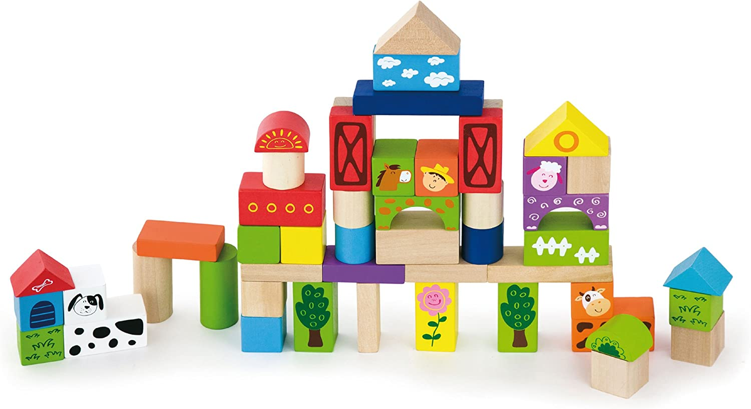 Viga Wooden Building Blocks 50 Piece Set with Farm Theme  50285 by Viga