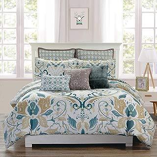 KingLinen 8 Piece Debora Teal/Gold Reversible Comforter Set Queen