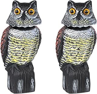 MagiDeal 2pcs Large Realistic Owl Decoy W/Rotating Head Bird Crow Scarer Scarecrow