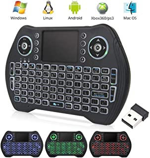 EASYTONE Backlit Mini Wireless Keyboard With Touchpad Mouse Combo and Multimedia Keys for..