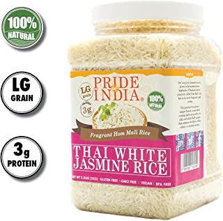 Pride Of India - Thai White Jasmine Rice - Fragrant Hom Mali Rice, 2.2 Pound (1 Kilo) Jar+ 50% Extra Free = 3.3 Pounds (1.5 kg) Total