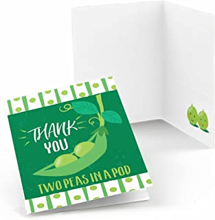 Big Dot of Happiness Double the Fun - Twins Two Peas in a Pod - Baby Shower or First Birthday Party Thank You Cards (8 count)