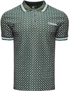 Lambretta Mens Geometric AOP Cotton Polo Shirt - Olive - M