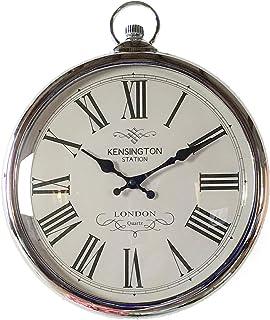 Pocket Watch Reloj de Pared Grande con Reloj de Bolsillo Plateado Cualquier Sala de Estar, Comedor, Cocina, Pasillo, saló...