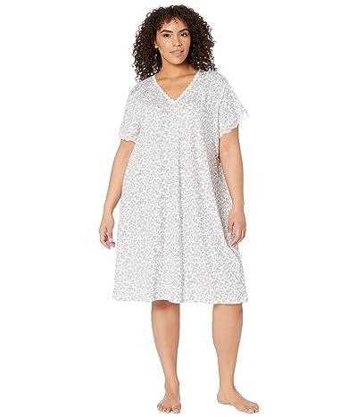 Karen Neuburger Plus Size Island Breeze Short Sleeve Nightshirt (Ditsy Bright White) Women